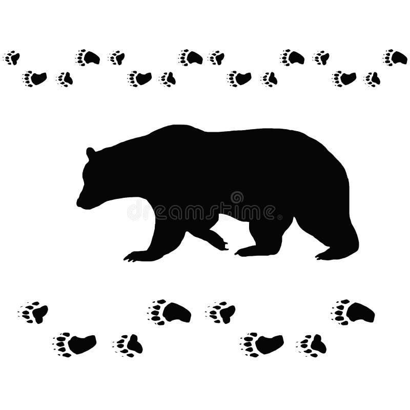 O urso segue o preto animal do contorno ilustração stock