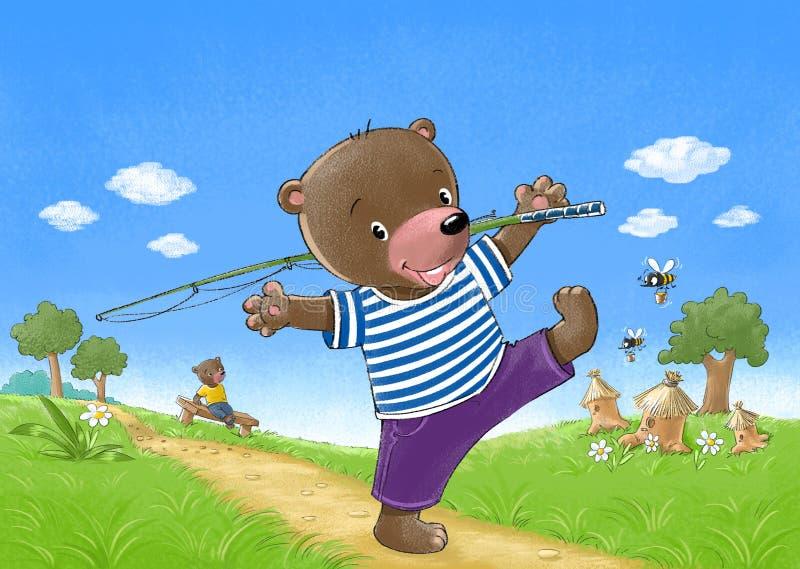 O urso vai pescar ilustração stock