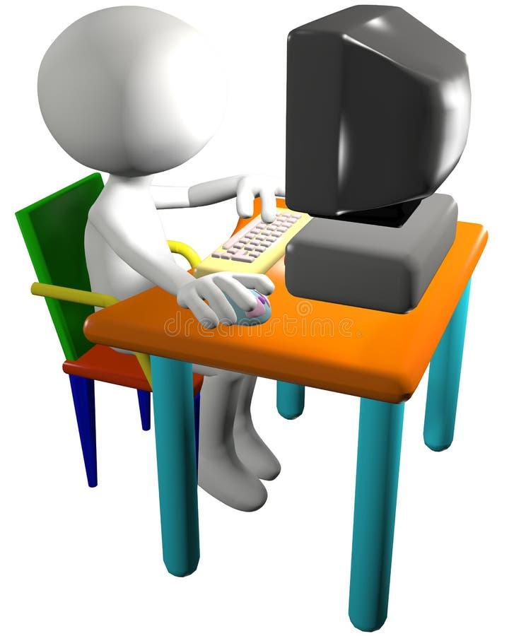 O usuário do computador usa a opinião lateral do PC dos desenhos animados 3D ilustração stock
