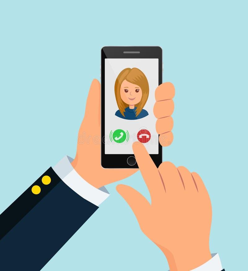 O usuário guarda o smartphone Entrante chamar o telefone O dedo estica a tela para responder à chamada ilustração stock
