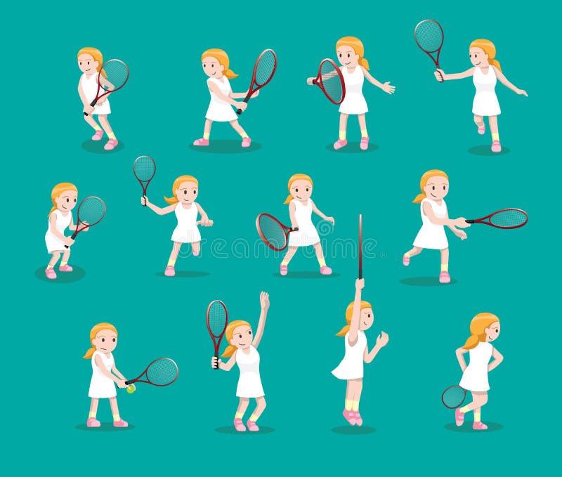 O vário tênis levanta a ilustração do vetor dos desenhos animados da menina ilustração royalty free