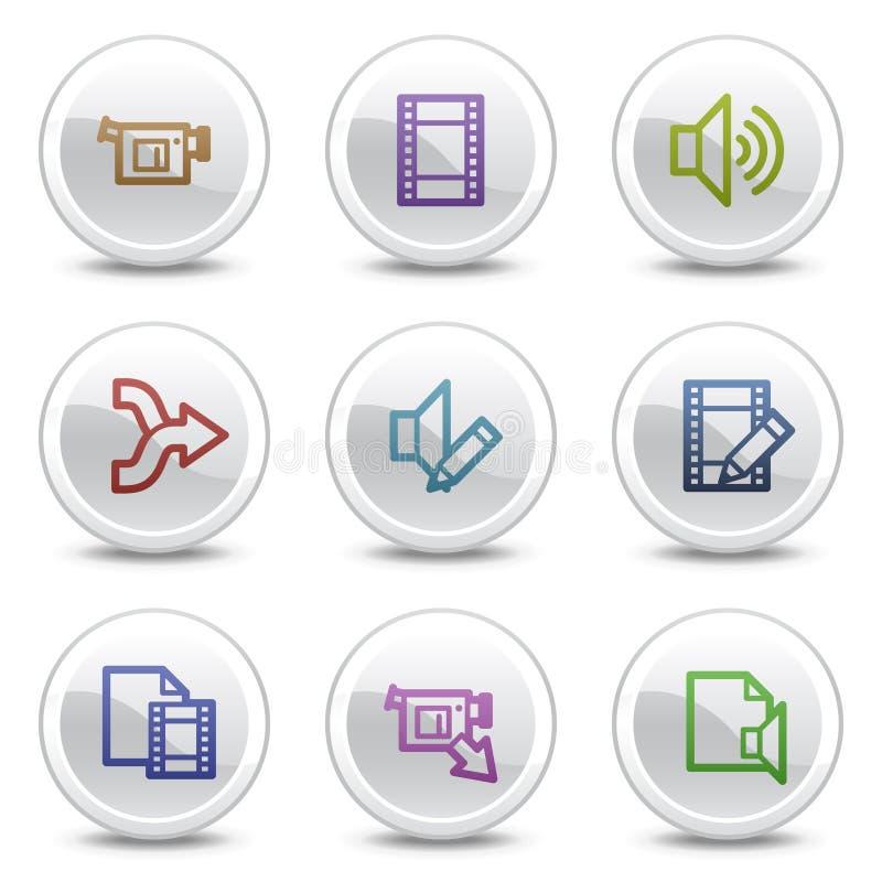 O vídeo audio edita ícones da cor do Web, teclas do círculo ilustração stock