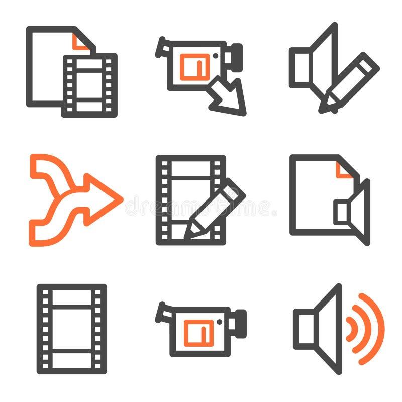 O vídeo audio edita ícones do Web, contorno alaranjado-cinzento ilustração stock