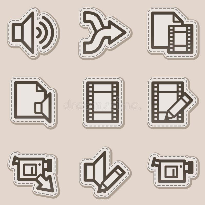 O vídeo audio edita ícones do Web, etiqueta marrom do contorno ilustração stock