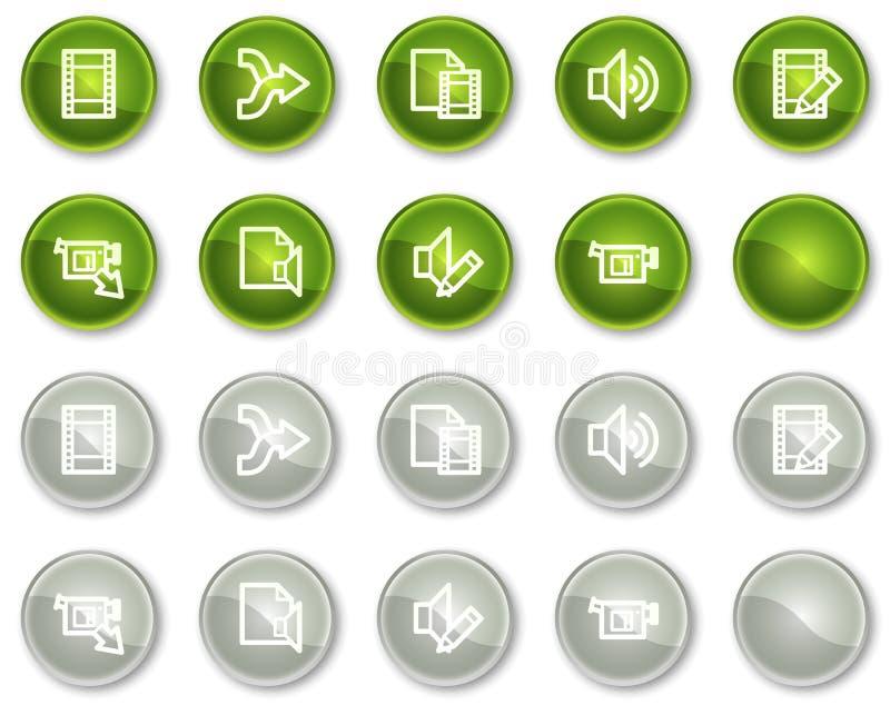 O vídeo audio edita ícones do Web, teclas do círculo ilustração royalty free
