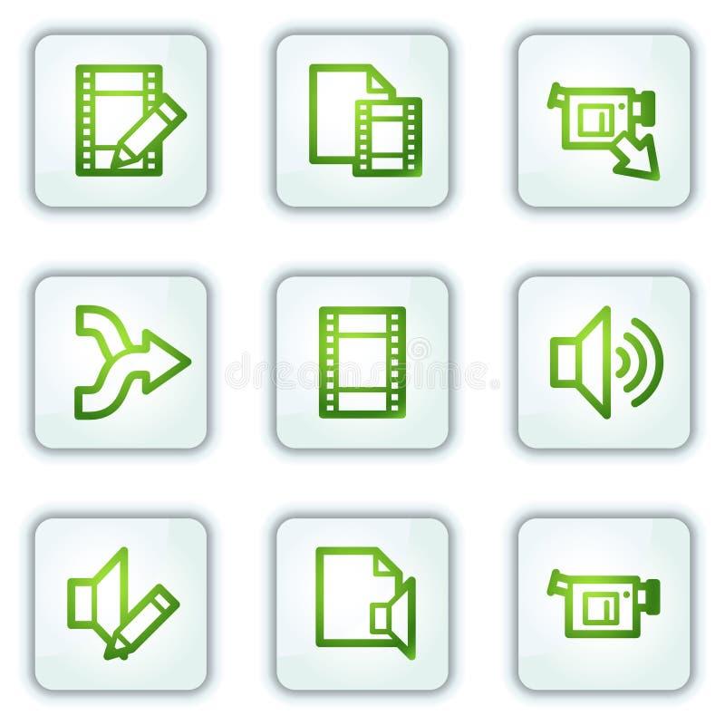 O vídeo audio edita ícones do Web, teclas do quadrado branco ilustração do vetor