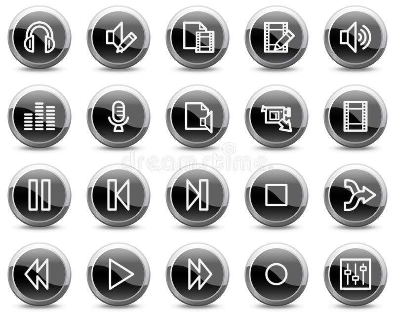O vídeo audio edita ícones do Web, teclas pretas do círculo ilustração do vetor