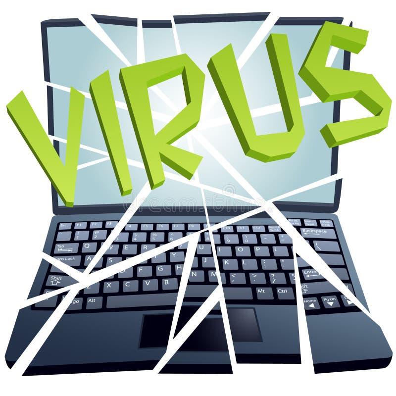 O vírus de computador quebra a segurança para causar um crash o portátil ilustração do vetor