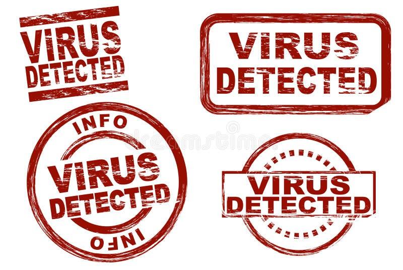 O vírus detectou o grupo do selo da tinta ilustração stock