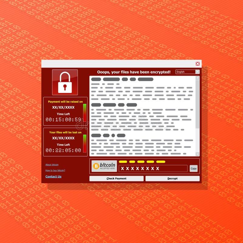 O vírus Malware Ransomware wannacry cifrou seus arquivos e requi ilustração royalty free