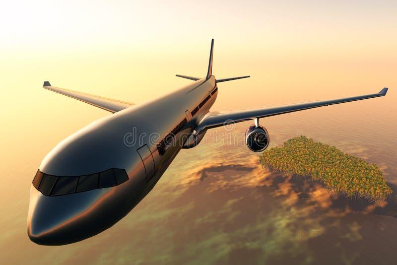 O vôo do avião sobre um console tropical 3d rende ilustração royalty free