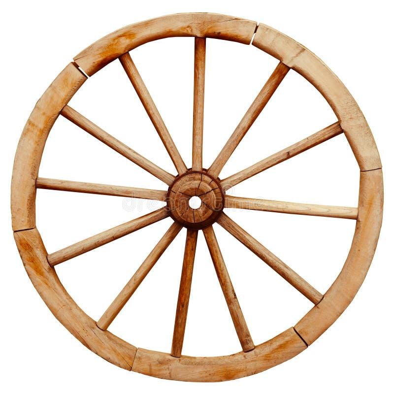 O vagão de madeira antigo do grunge roda dentro o estilo country isolado em w imagens de stock