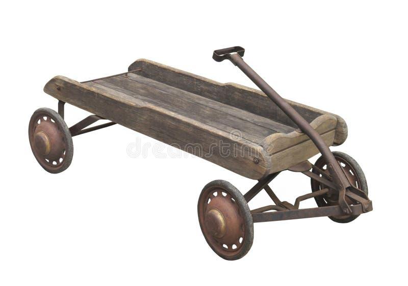 O vagão de madeira da criança idosa isolado fotos de stock
