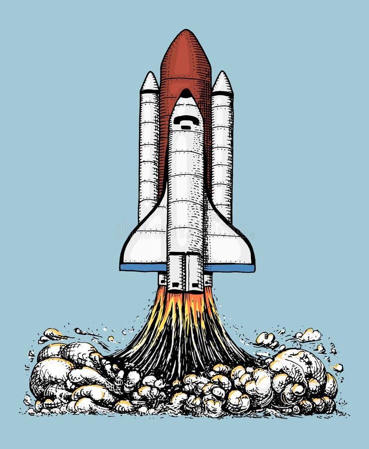 O vaivém espacial decola exploração astronômica do astronauta mão gravada tirada no esboço velho, estilo do vintage para a etique ilustração do vetor