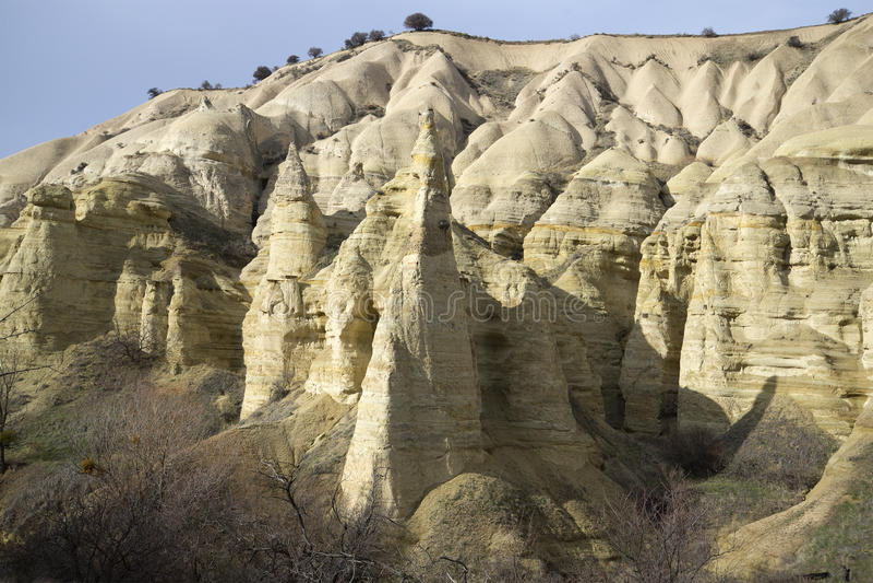 O vale do branco da rocha Cappadocia imagem de stock royalty free