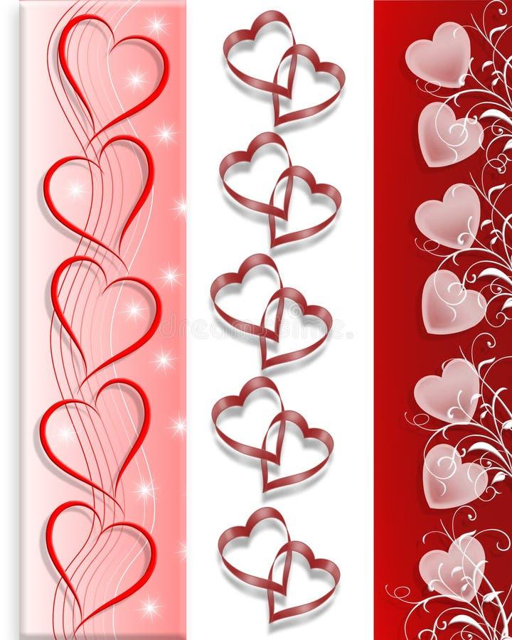 O Valentim limita corações 3 estilos ilustração do vetor