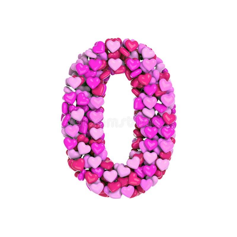 O Valentim número 0 - dígito do coração 3d - apropriado para o dia de Valentim, o romantism ou a paixão relacionou assuntos ilustração do vetor