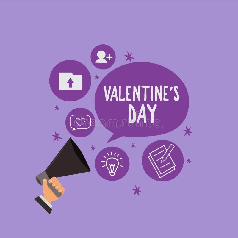 O Valentim s do texto da escrita é dia Tempo de significado do conceito em que os povos mostram sentimentos do amor e da afeição ilustração do vetor