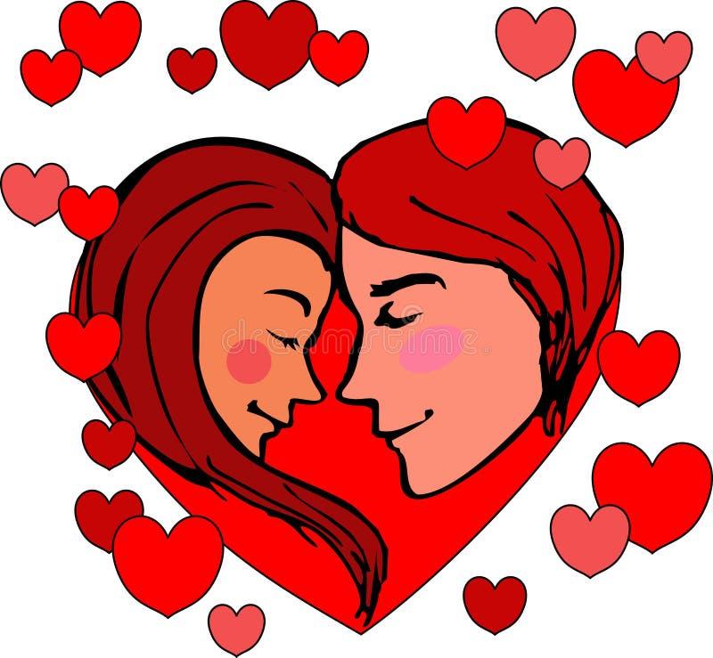 O Valentim, um homem novo com uma menina, hesita beijar, no fundo dos corações Os jovens são inscritos no coração ilustração stock