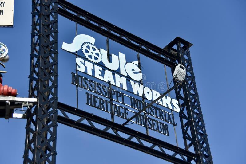 O vapor de Soule trabalha o sinal, meridiano, Mississippi foto de stock royalty free
