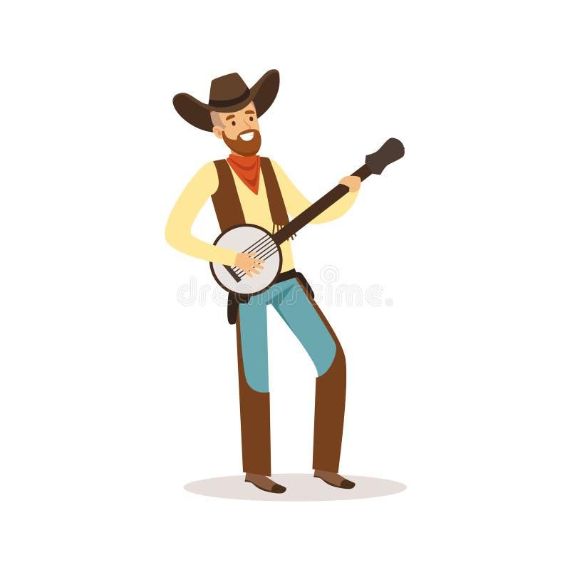 O vaqueiro de sorriso que joga o personagem de banda desenhada ocidental do banjo vector a ilustração ilustração stock