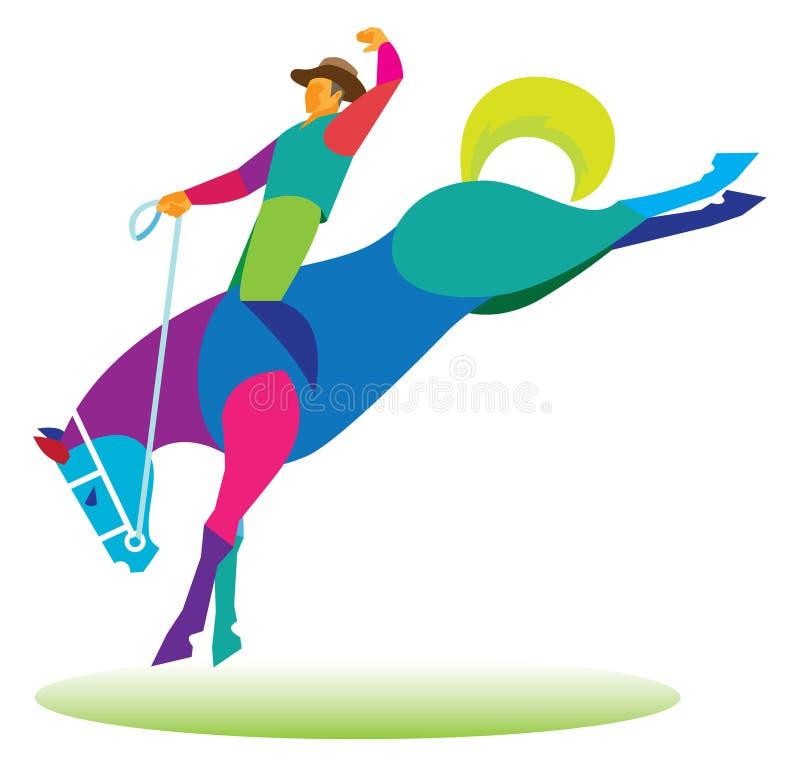 O vaqueiro tende a ficar no cavalo selvagem ilustração do vetor