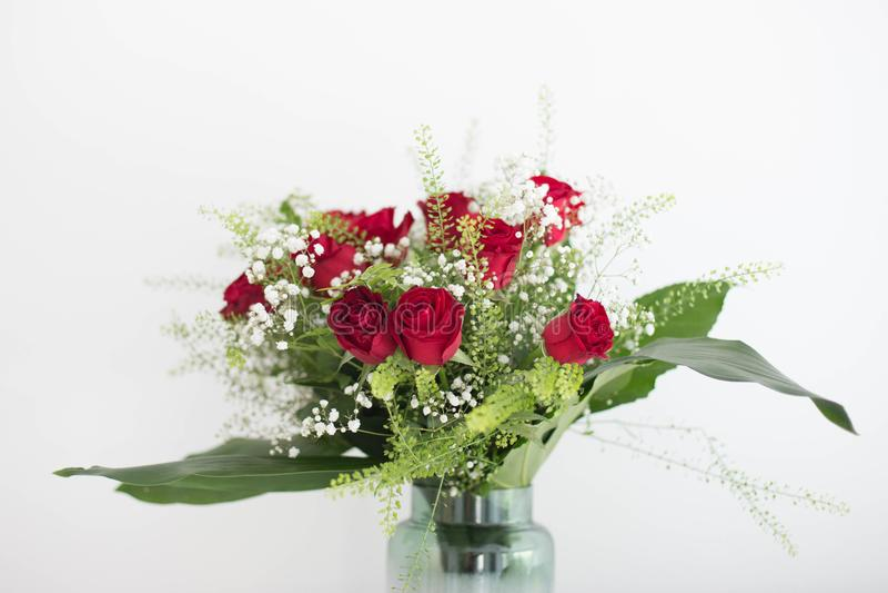 O vaso de rosas vermelhas das flores no fundo branco agradece a lhe e à sala do projeto de cartão do amor para o texto fotos de stock