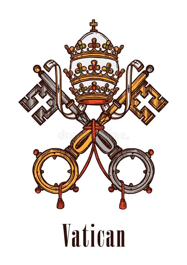 O Vaticano fecha o ícone do vetor da brasão do símbolo ilustração royalty free