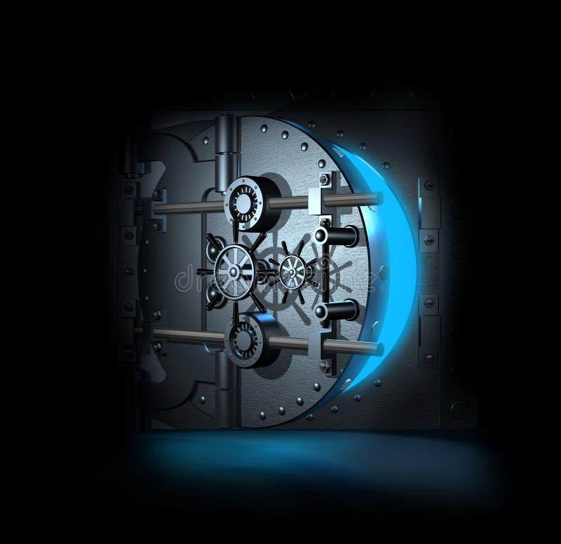 O vault de banco aberto, 3D rende ilustração stock