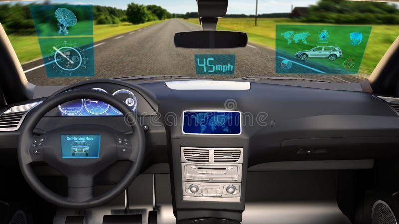 O veículo autônomo, carro driverless de SUV com os dados infographic que conduzem na estrada, dentro da vista, 3D rende imagens de stock royalty free