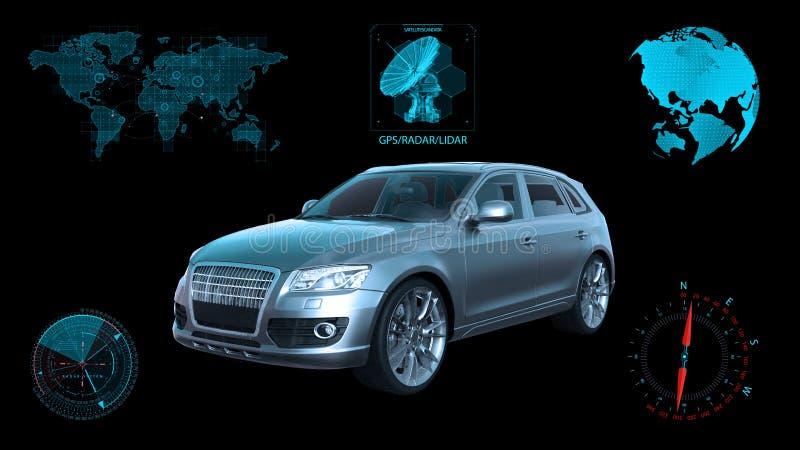 O veículo autônomo, carro driverless de SUV no fundo preto com dados infographic, 3D rende fotos de stock