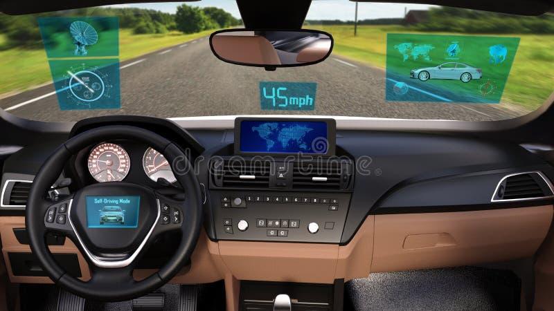 O veículo Driverless, carro autônomo do sedan com os dados infographic que conduzem na estrada, dentro da vista, 3D rende fotos de stock