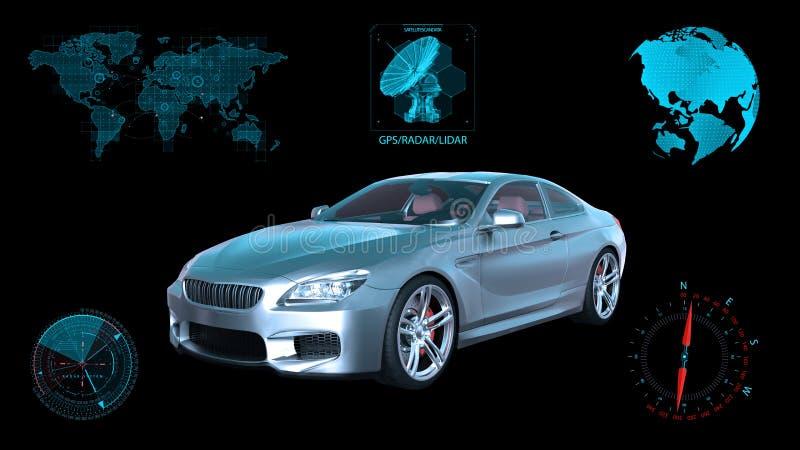 O veículo Driverless, carro autônomo do sedan no fundo preto com dados infographic, 3D rende foto de stock