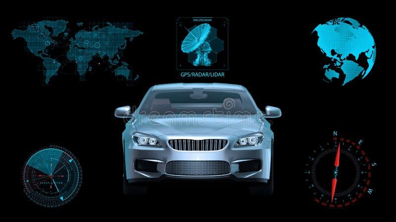 O veículo Driverless, carro autônomo do sedan no fundo preto com dados infographic, vista dianteira, 3D rende imagens de stock royalty free