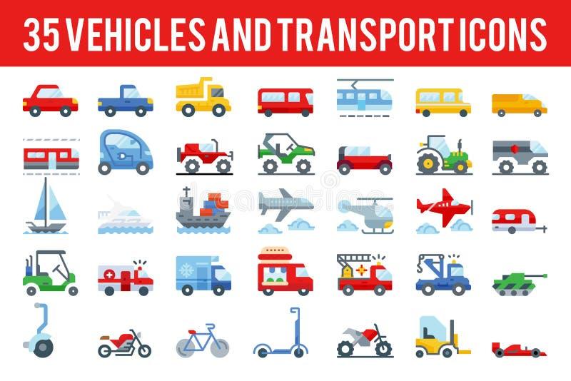 O veículo 35 e os ícones lisos do transporte assinam e símbolos ilustração do vetor