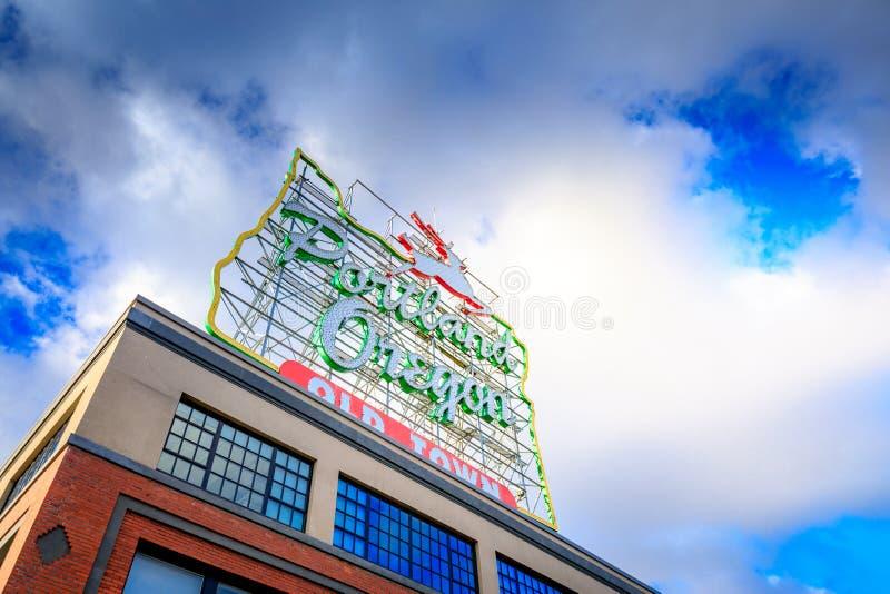 O veado branco assina dentro a cidade velha Portland Oregon fotos de stock royalty free