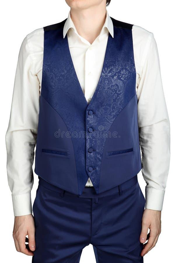 O vegetal azul modelou o waistcoat do jacquard para o casamento sui dos homens fotografia de stock royalty free