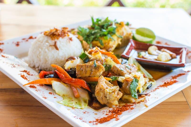 O vegetal e a galinha fritam mexendo com arroz fotos de stock