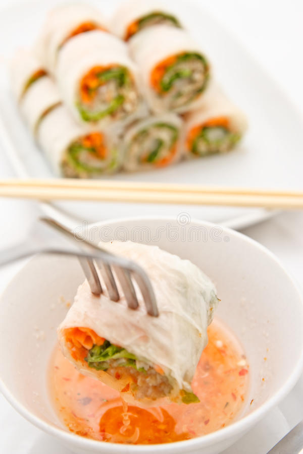 O vegetal rola no estilo vietnamiano fotografia de stock