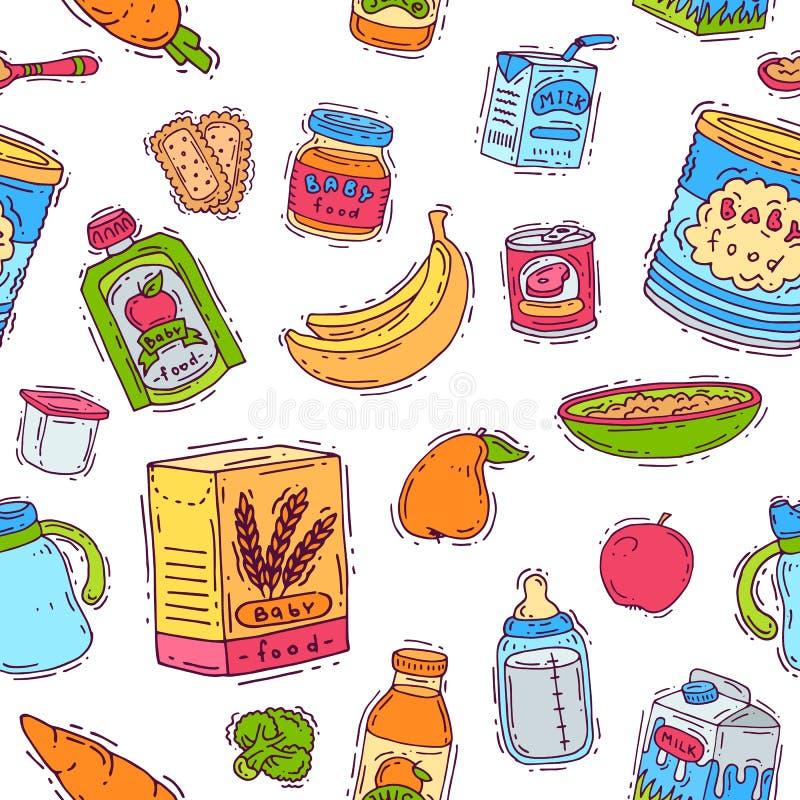 O vegetal saudável da nutrição da criança do comida para bebê triturou o puré no frasco e no suco fresco com as maçãs das bananas ilustração royalty free