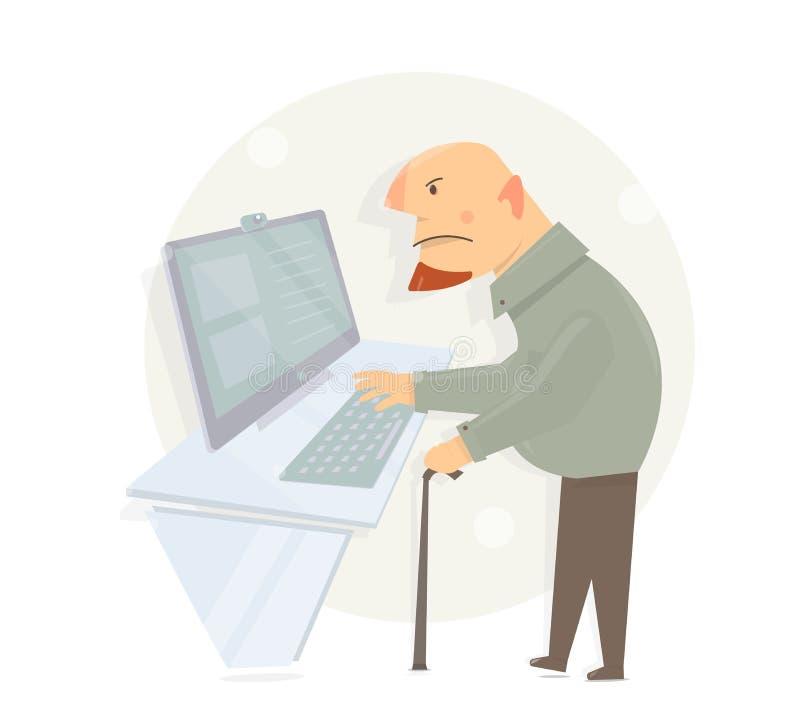 O velho aprende usar um computador Vista do Gaffer ilustração royalty free