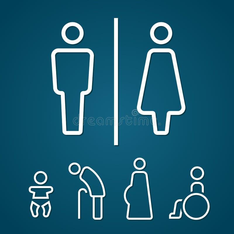 O velho e o bebê grávidos do aleijado da fêmea masculina do toalete assinam o curso do esboço ilustração royalty free