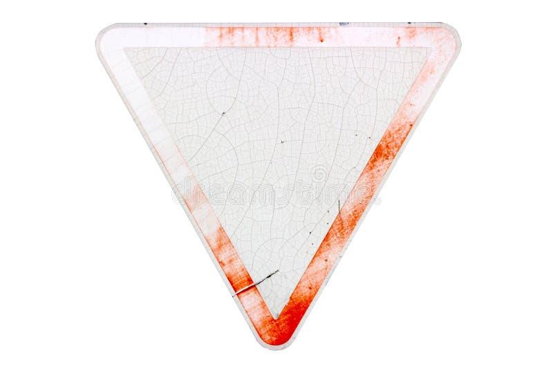 O ` velho riscado triangular do rendimento do ` do sinal de estrada da beira vermelha isolou o ilustração royalty free