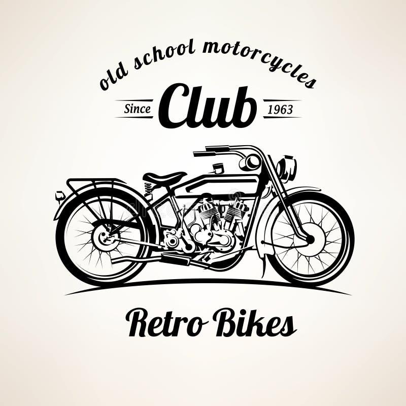O velomotor retro simboliza e etiqueta o molde ilustração stock