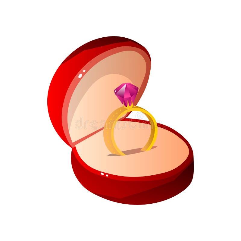 O veludo vermelho abriu a caixa de presente com Ruby Ring, ilustração dada forma redonda do vetor da caixa da joia ilustração stock