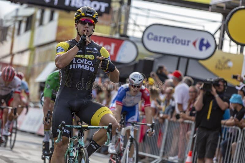 O vencedor da fase - Tour de France 2018 imagem de stock royalty free