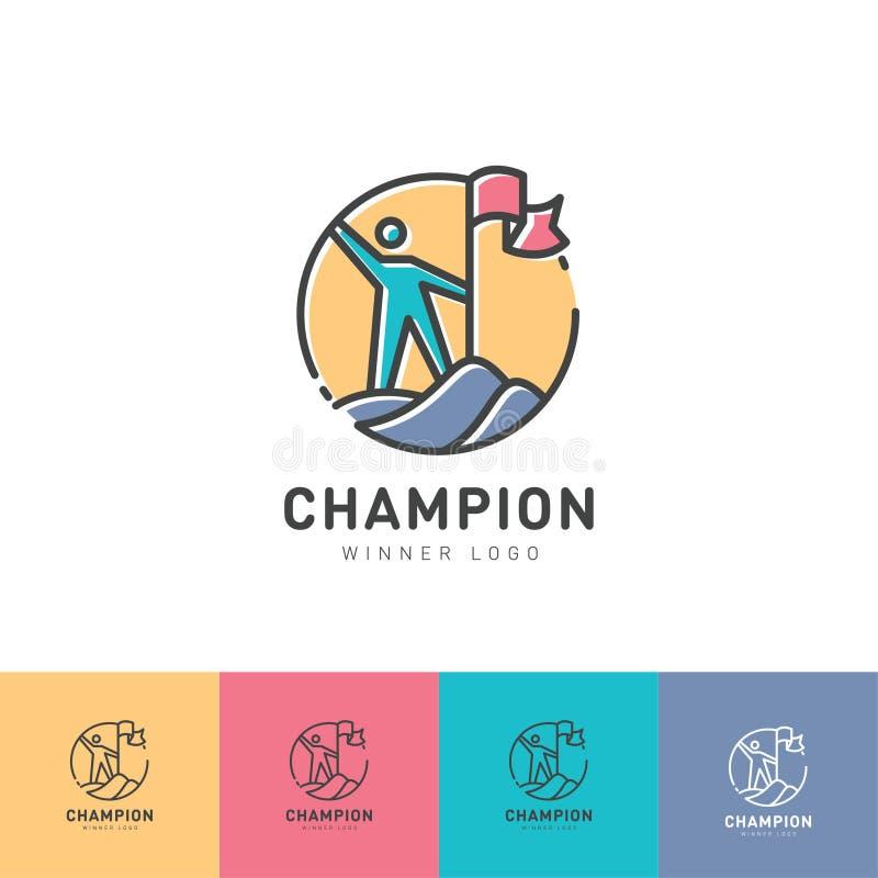 O vencedor do logotipo O homem escalou a montanha Homem com uma bandeira na montanha identidade ilustração stock