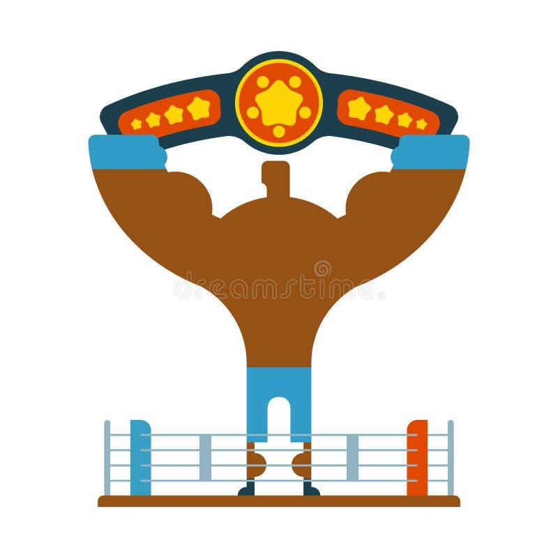 O vencedor do pugilista do campeão entrega acima Competiam de vencimento championship ilustração do vetor