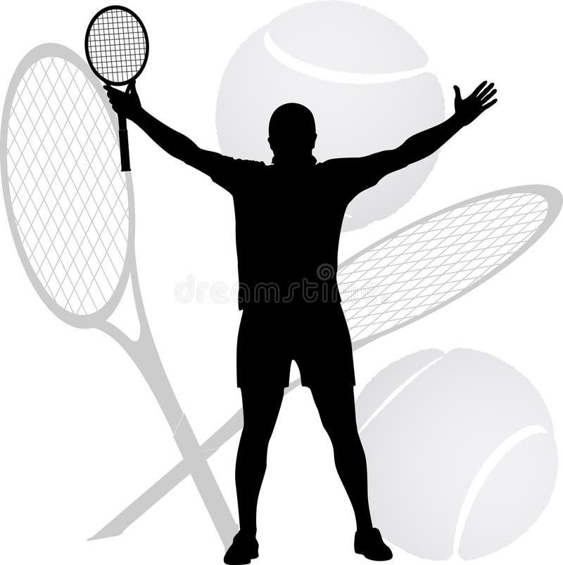 O vencedor do tênis levantou suas mãos imagem de stock royalty free