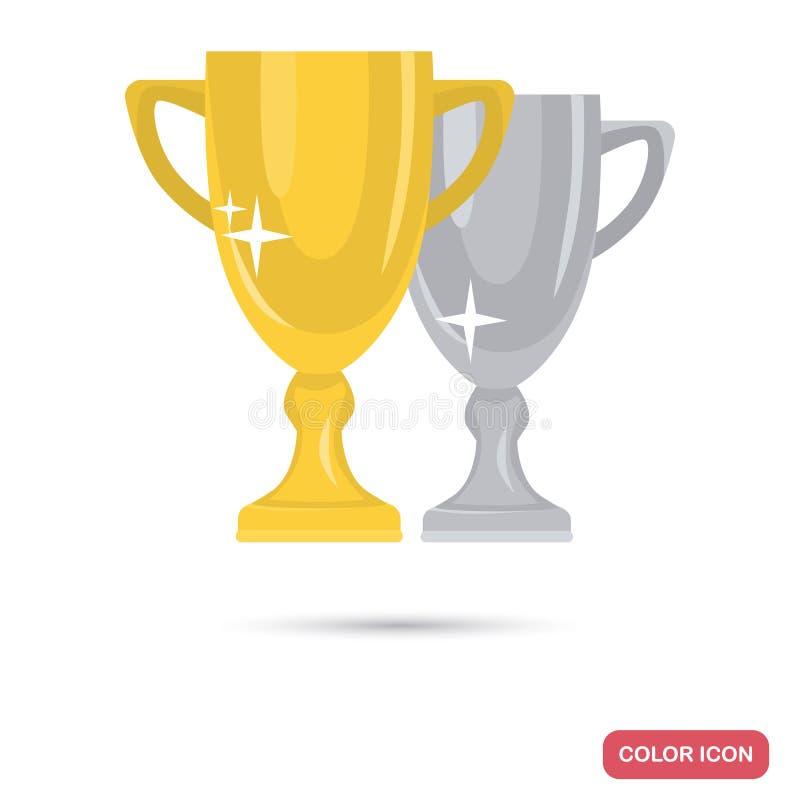 O vencedor dourado e de prata coloca o ícone liso da cor ilustração stock